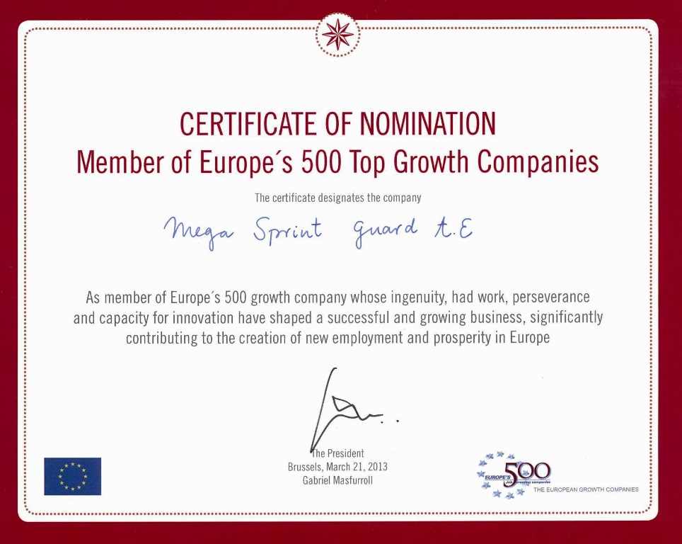 Europe 500 Award nomination certificate